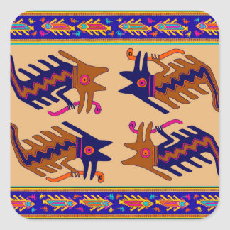 Sticker Carré Serpent de tribal d'Inca
