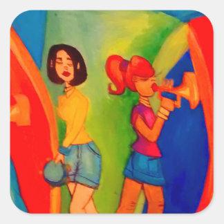 Sticker Carré Session de confiture de bande de fille
