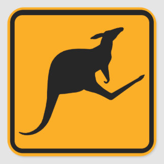 Sticker Carré Signe de l'Australie de kangourou (paquet de 6/20)