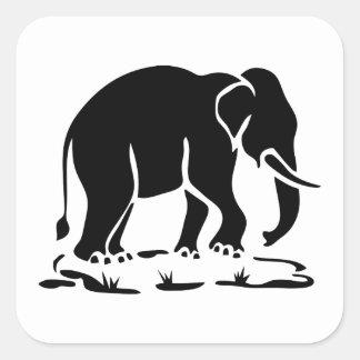 Sticker Carré Signe thaïlandais asiatique de trekking d'éléphant