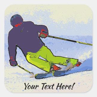 Sticker Carré Silhouette de skieur