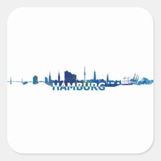 Sticker Carré Silhouette d'horizon de Hambourg