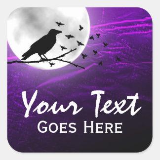 Sticker Carré Silhouette noire de Raven de corneille sur