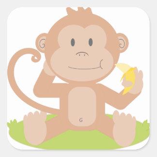 Sticker Carré Singe mangeant la banane