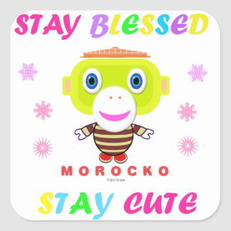 Sticker Carré Singe-Morocko Mignon-Mignon de séjour béni par