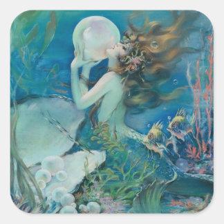 Sticker Carré Sirène vintage avec l'autocollant de perle