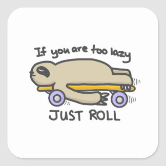 Sticker Carré Skateboarding de paresse