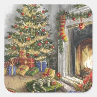 Sticker Carré Sommeil Kitty par l'arbre de Noël