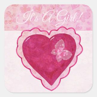 Sticker Carré SON adorable de fleurs de Valentine un BÉBÉ de