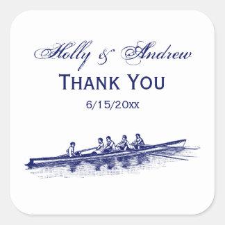 Sticker Carré Sports aquatiques bleus d'équipe d'équipage de