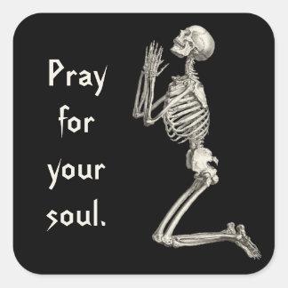 Sticker Carré Squelette de prière