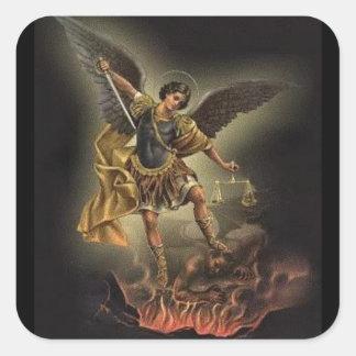 Sticker Carré St Michael le diable d'armure d'épée d'Arkhangel