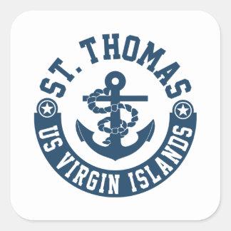 Sticker Carré St Thomas USA. Les Îles Vierges