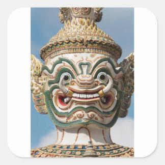 Sticker Carré Statue de démon de Yaksha, Bangkok