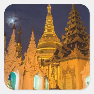 Sticker Carré Stupa d'or et temples