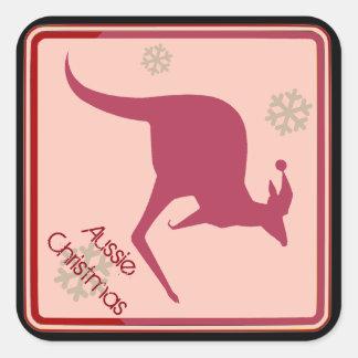 Sticker Carré Style australien de l'Australie de Noël