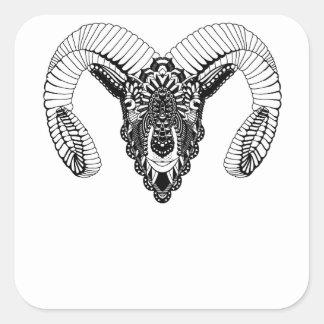 Sticker Carré Style de mandala de dessin de RAM