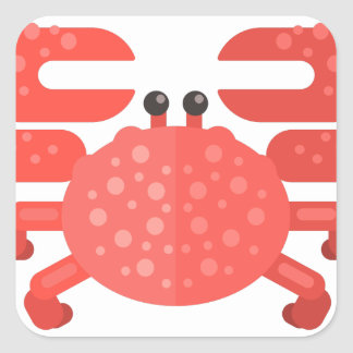 Sticker Carré Style rose de primitif de crabe