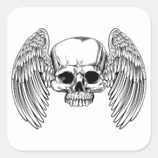 Sticker Carré Style vintage à ailes de gravure sur bois en crâne