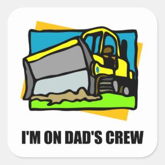 Sticker Carré Sur l'équipage de papas