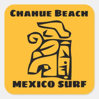 Sticker Carré Surf de plage de Chahue