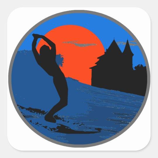 Sticker Carré Surfeur de Biarritz