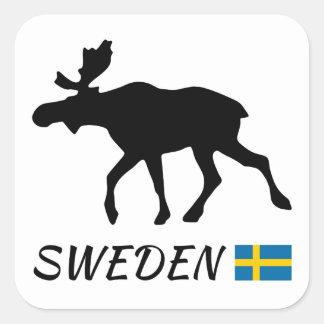 Sticker Carré Sweden Elk and drapeau