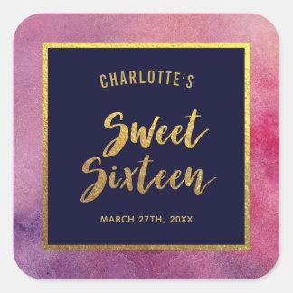 Sticker Carré Sweet sixteen d'or d'aquarelle rose pourpre et de