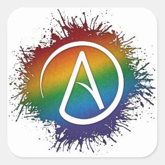 Sticker Carré Symbole d'athée d'arc-en-ciel