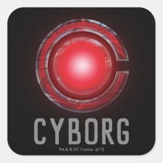 Sticker Carré Symbole rougeoyant de cyborg de la ligue de