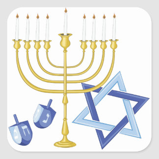 Sticker Carré Symboles de Hannukah