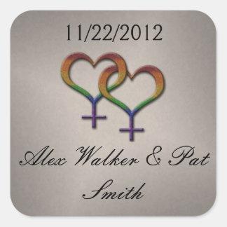 Sticker Carré Symboles femelles de genre d'arc-en-ciel