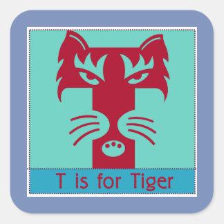 Sticker Carré T est pour l'alphabet animal de tigre pour des