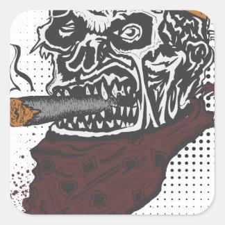 Sticker Carré Tabagisme de crâne