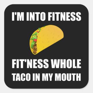 Sticker Carré Taco de forme physique dans ma bouche drôle