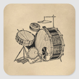 Sticker Carré Tambours vintages de kit de tambour