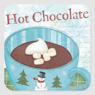 Sticker Carré Tasse de Noël avec du chocolat chaud