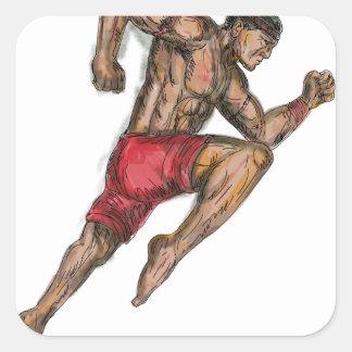 Sticker Carré Tatouage thaïlandais de combattant de boxe de Muay