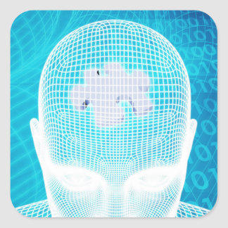 Sticker Carré Technologie futuriste avec la puce Soluti d'esprit