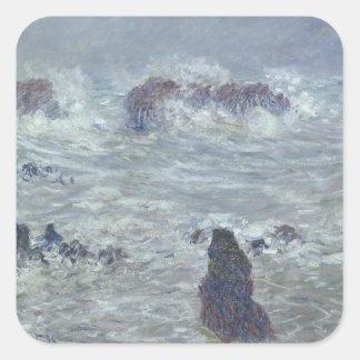 Sticker Carré Tempête de Claude Monet  , outre de la côte du