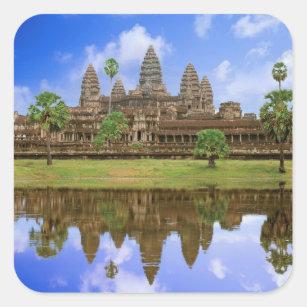 Sticker Carré Temple du Cambodge, Kampuchea, Angkor Vat