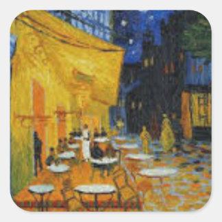 Sticker Carré Terrasse de Café le nuit de Vincent Van Gogh