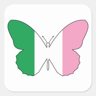 Sticker Carré Terre-Neuve Buttlerfly tricolore