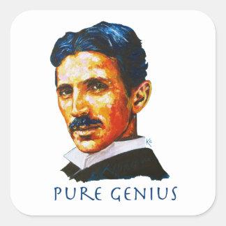 Sticker Carré Tesla - génie pur