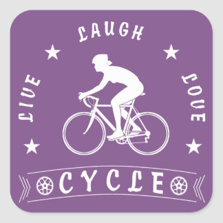 Sticker Carré Texte de Live Laugh Love Cycle de Madame (blanc)