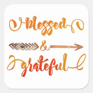 Sticker Carré thanksgiving béni et reconnaissant