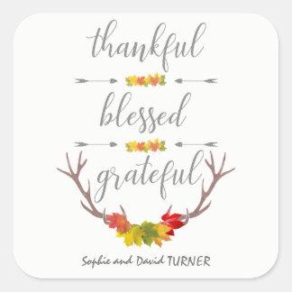 Sticker Carré Thanksgiving reconnaissant béni reconnaissant
