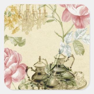 Sticker Carré Thé floral français de Paris de théière de tasse