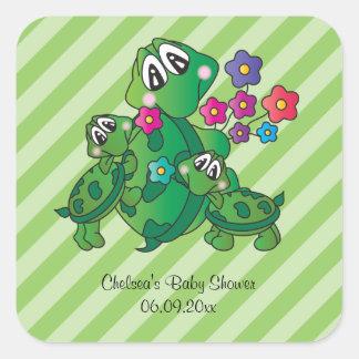 Sticker Carré Thème mignon de baby shower de tortue