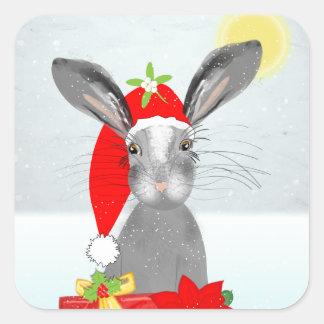 Sticker Carré Thème mignon de vacances de Noël de lapin